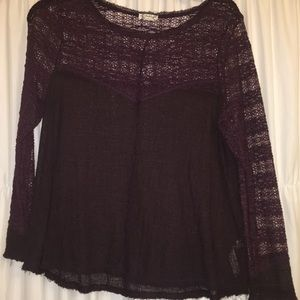 Free People lace long sleeve top. Purple size S